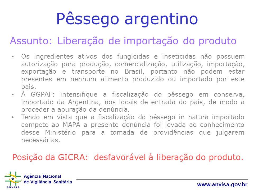 Agência Nacional de Vigilância Sanitária www.anvisa.gov.br Pêssego argentino Assunto: Liberação de importação do produto Os ingredientes ativos dos fu