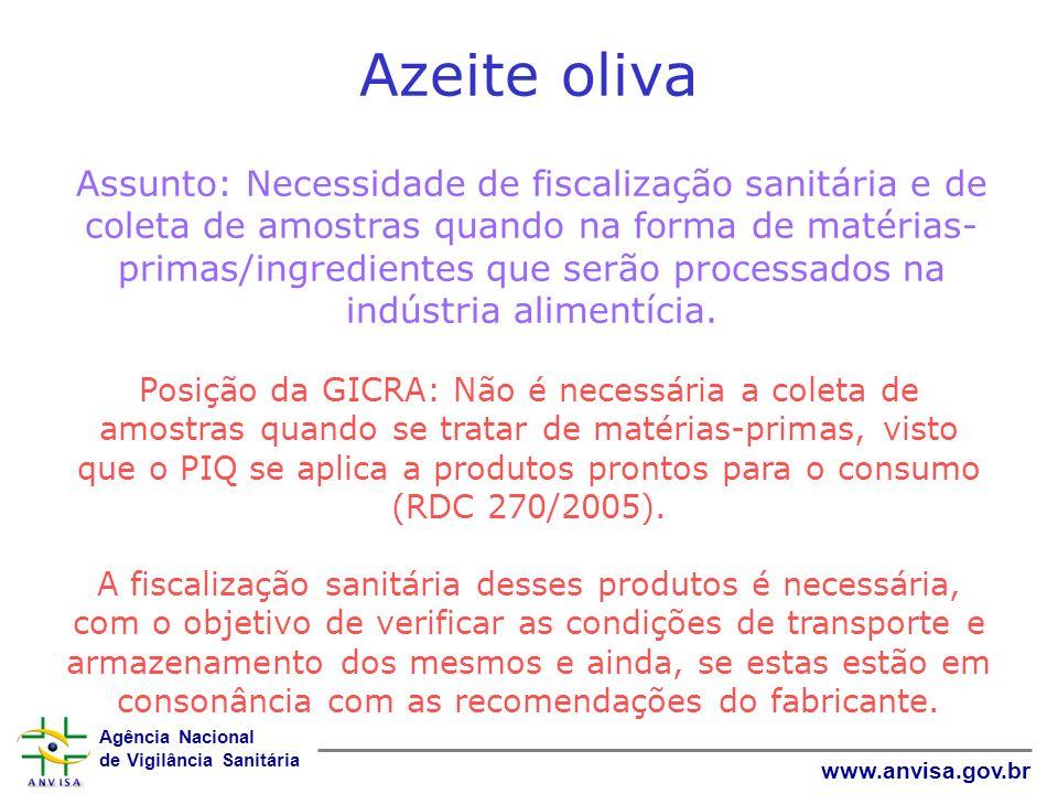 Agência Nacional de Vigilância Sanitária www.anvisa.gov.br Azeite oliva Assunto: Necessidade de fiscalização sanitária e de coleta de amostras quando
