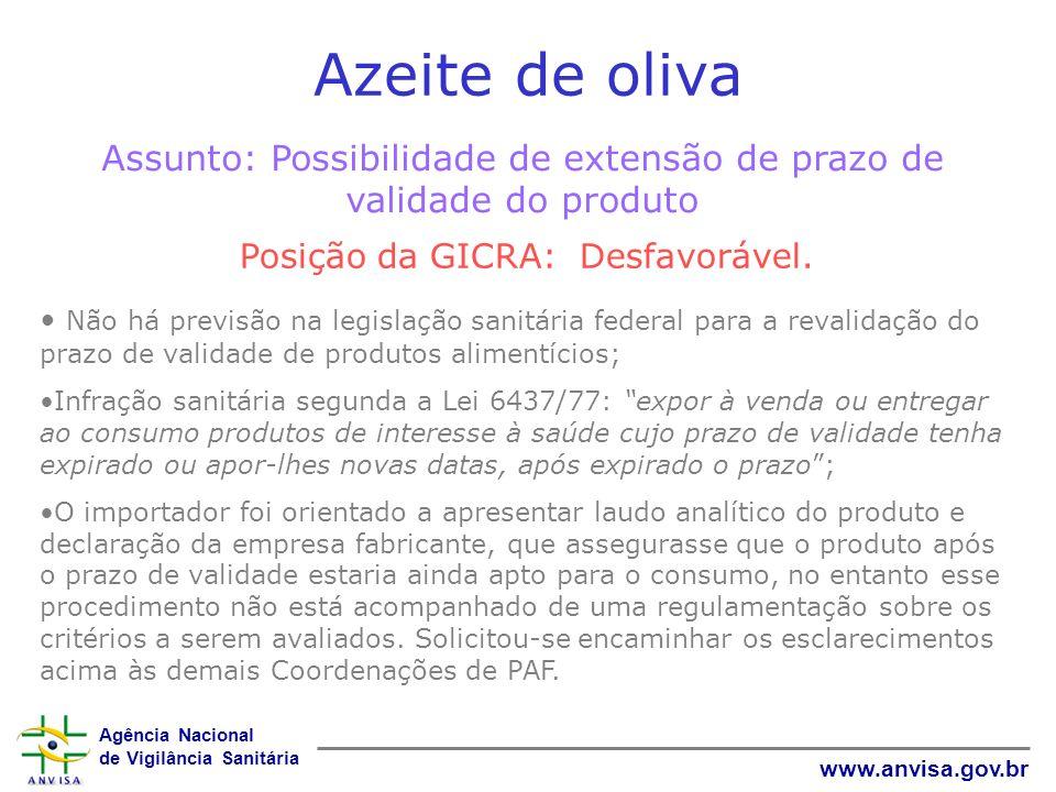 Agência Nacional de Vigilância Sanitária www.anvisa.gov.br Azeite de oliva Assunto: Possibilidade de extensão de prazo de validade do produto Posição