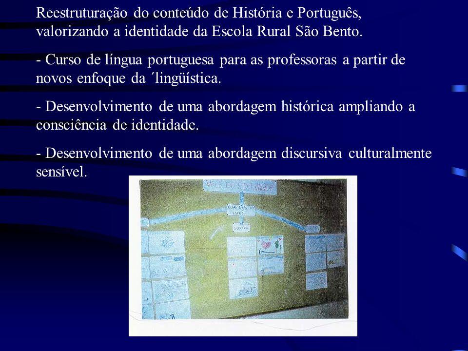 Reestruturação do conteúdo de História e Português, valorizando a identidade da Escola Rural São Bento.