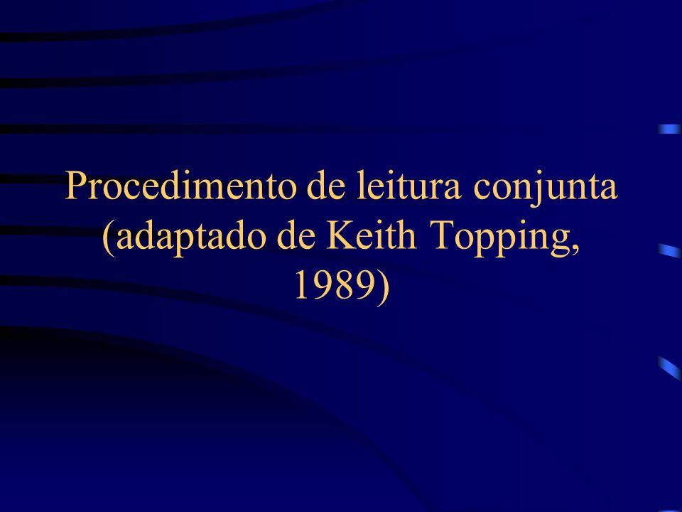 Procedimento de leitura conjunta (adaptado de Keith Topping, 1989)