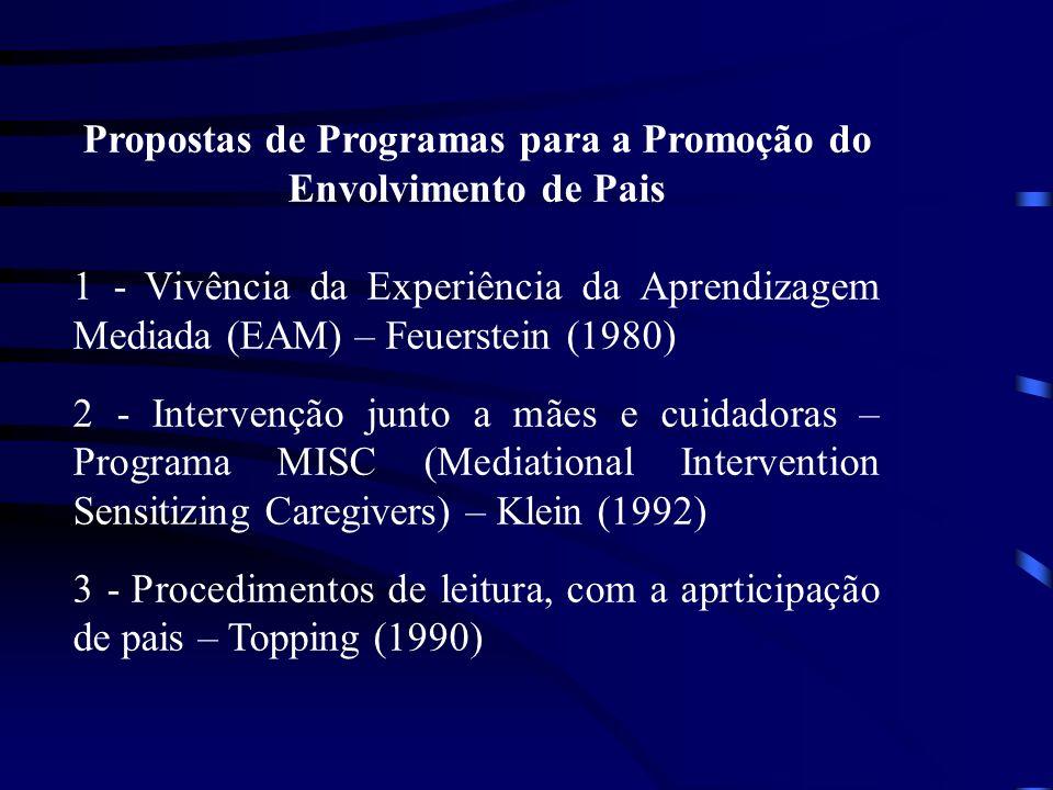 Propostas de Programas para a Promoção do Envolvimento de Pais 1 - Vivência da Experiência da Aprendizagem Mediada (EAM) – Feuerstein (1980) 2 - Intervenção junto a mães e cuidadoras – Programa MISC (Mediational Intervention Sensitizing Caregivers) – Klein (1992) 3 - Procedimentos de leitura, com a aprticipação de pais – Topping (1990)