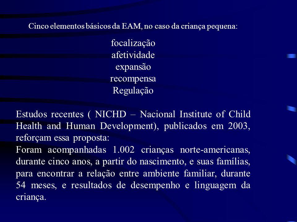 Cinco elementos básicos da EAM, no caso da criança pequena: focalização afetividade expansão recompensa Regulação Estudos recentes ( NICHD – Nacional
