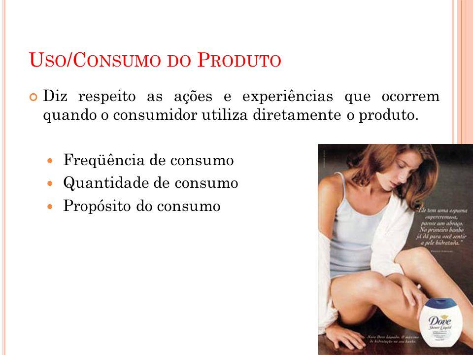 U SO /C ONSUMO DO P RODUTO Diz respeito as ações e experiências que ocorrem quando o consumidor utiliza diretamente o produto. Freqüência de consumo Q