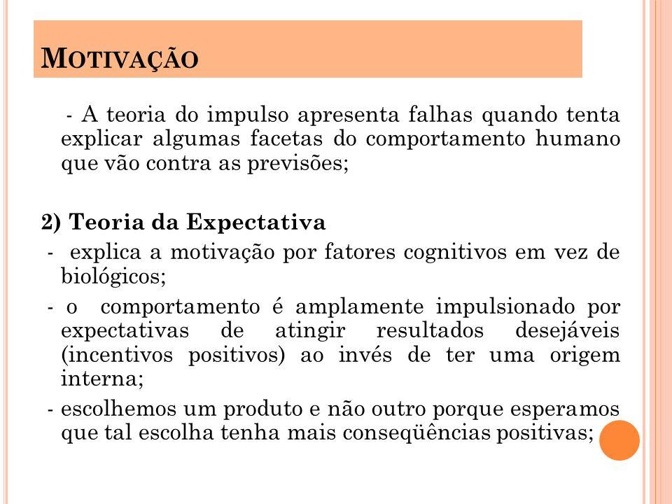 - A teoria do impulso apresenta falhas quando tenta explicar algumas facetas do comportamento humano que vão contra as previsões; 2) Teoria da Expecta