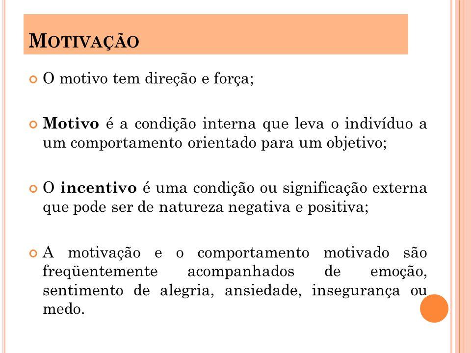 O motivo tem direção e força; Motivo é a condição interna que leva o indivíduo a um comportamento orientado para um objetivo; O incentivo é uma condiç