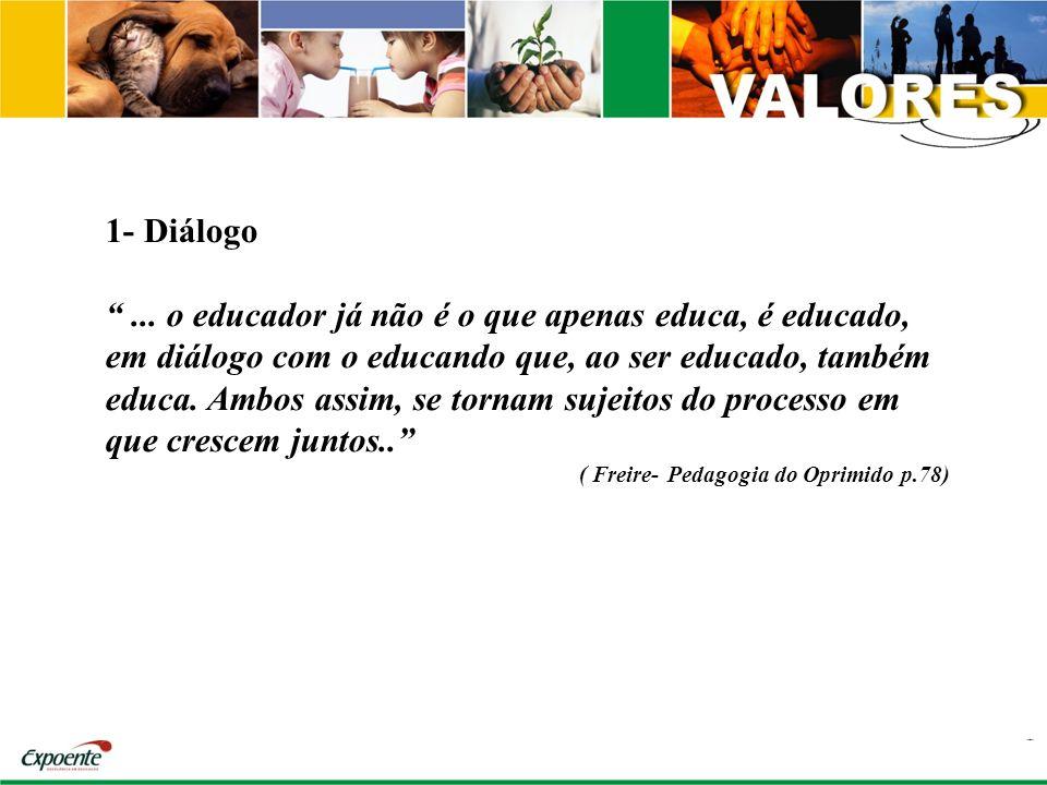 1- Diálogo... o educador já não é o que apenas educa, é educado, em diálogo com o educando que, ao ser educado, também educa. Ambos assim, se tornam s
