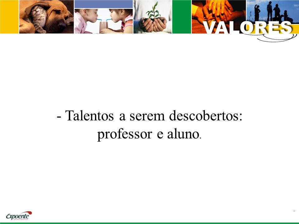 - Talentos a serem descobertos: professor e aluno.