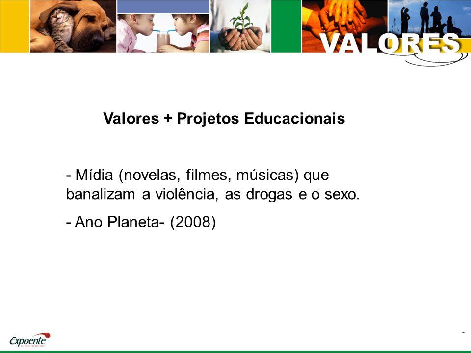Valores + Projetos Educacionais - Mídia (novelas, filmes, músicas) que banalizam a violência, as drogas e o sexo. - Ano Planeta- (2008)