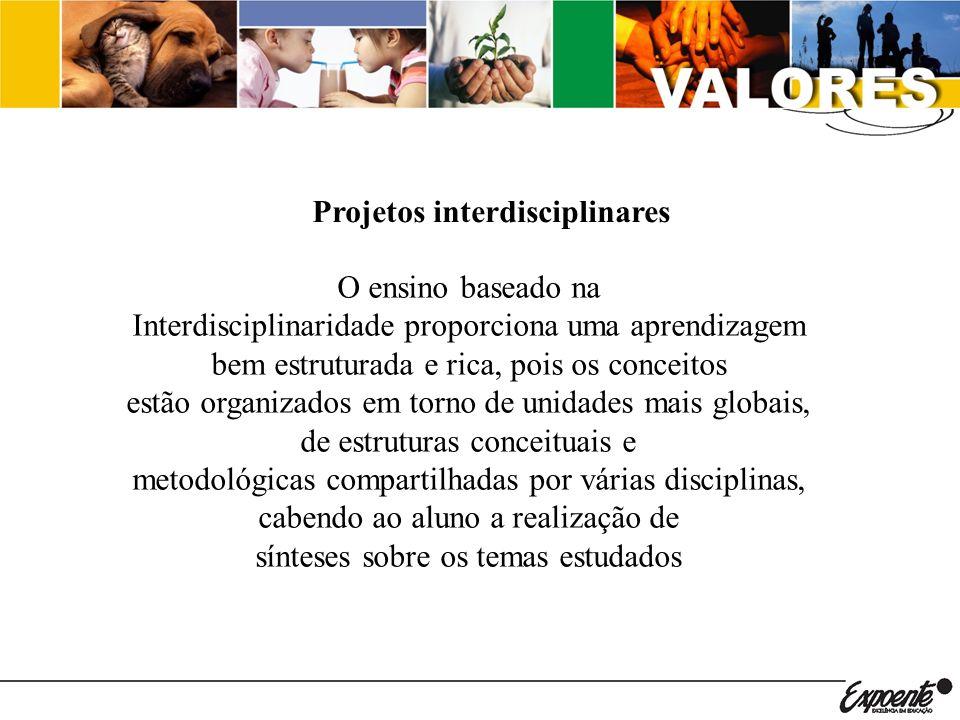 Projetos interdisciplinares O ensino baseado na Interdisciplinaridade proporciona uma aprendizagem bem estruturada e rica, pois os conceitos estão org