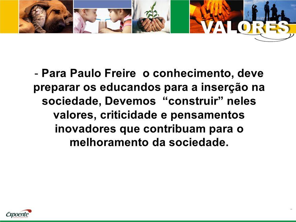 - Para Paulo Freire o conhecimento, deve preparar os educandos para a inserção na sociedade, Devemos construir neles valores, criticidade e pensamento