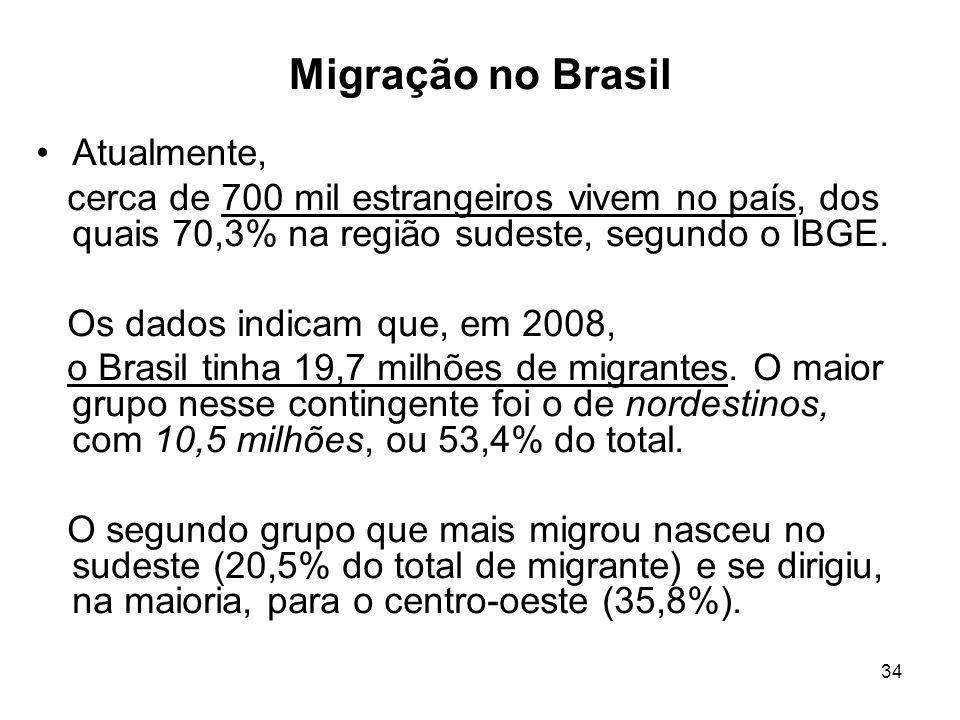34 Migração no Brasil Atualmente, cerca de 700 mil estrangeiros vivem no país, dos quais 70,3% na região sudeste, segundo o IBGE. Os dados indicam que