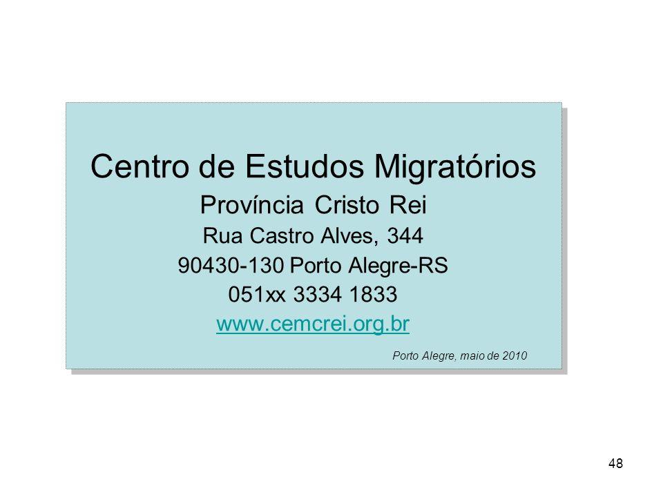 48 Centro de Estudos Migratórios Província Cristo Rei Rua Castro Alves, 344 90430-130 Porto Alegre-RS 051xx 3334 1833 www.cemcrei.org.br Porto Alegre,