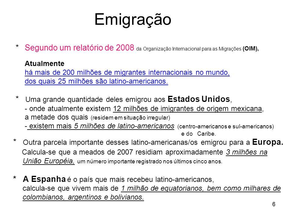 6 Emigração * Segundo um relatório de 2008 da Organização Internacional para as Migrações (OIM), Atualmente há mais de 200 milhões de migrantes intern