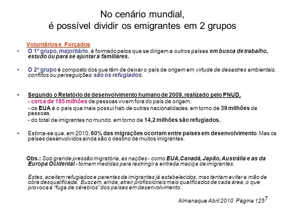 8 Brasileiros no Exterior: Dados do Ministério das Relações Exteriores de 2008 revelam que existem aproximadamente cinco milhões de brasileiros vivendo fora do País.