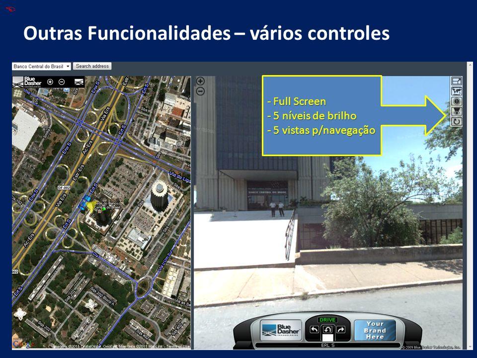 Outras Funcionalidades – vários controles - Full Screen - 5 níveis de brilho - 5 vistas p/navegação