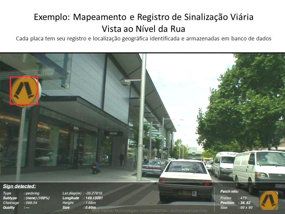 Exemplo: Mapeamento e Registro de Sinalização Viária Vista ao Nível da Rua Cada placa tem seu registro e localização geográfica identificada e armazenadas em banco de dados Blue Dasher Technologies - CONFIDENTIAL - Authorized Use Only