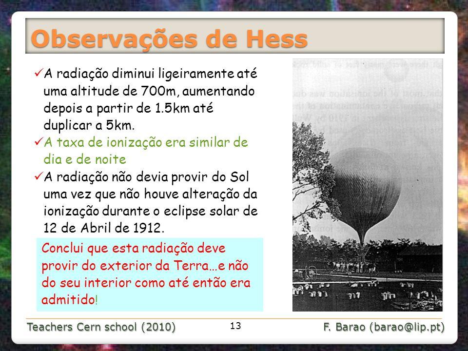Teachers Cern school (2010) F. Barao (barao@lip.pt) Observações de Hess A radiação diminui ligeiramente até uma altitude de 700m, aumentando depois a