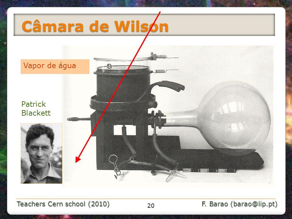 Teachers Cern school (2010) F. Barao (barao@lip.pt) Câmara de Wilson Câmara de Wilson 20 Vapor de água Patrick Blackett