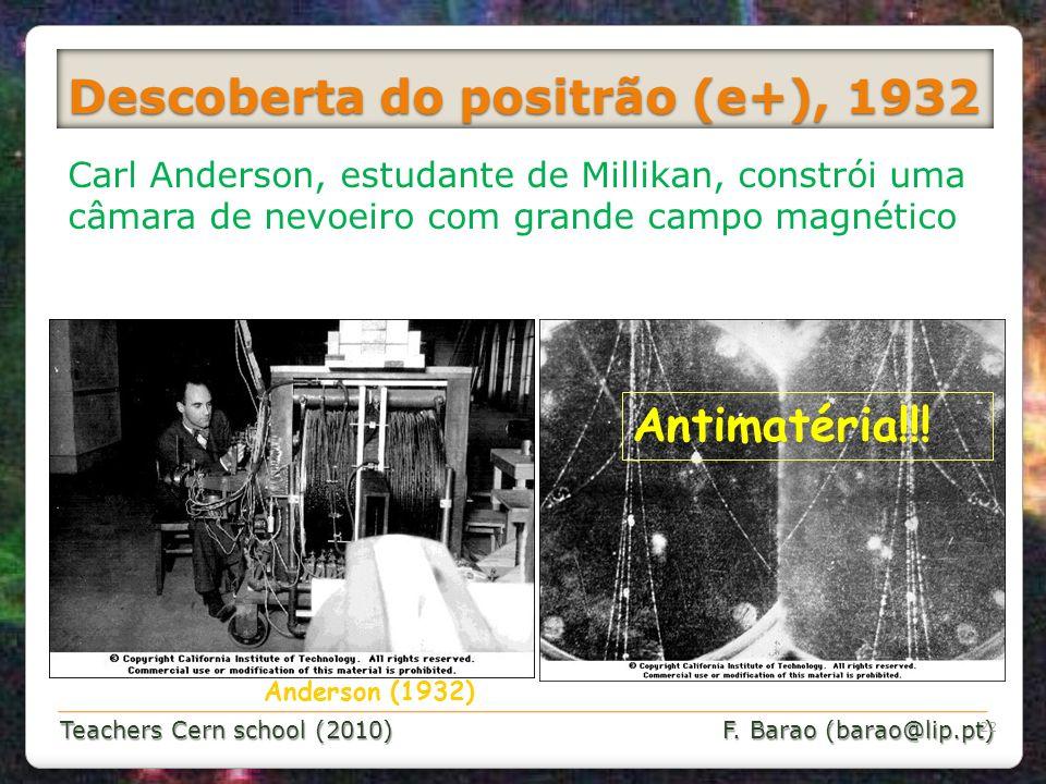 Teachers Cern school (2010) F. Barao (barao@lip.pt) Anderson (1932) Carl Anderson, estudante de Millikan, constrói uma câmara de nevoeiro com grande c