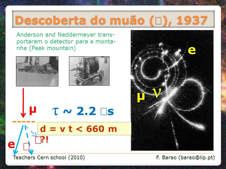 Teachers Cern school (2010) F. Barao (barao@lip.pt) ν µ e Anderson and Neddermeyer trans- portaram o detector para a monta- nha (Peak mountain) µ e τ