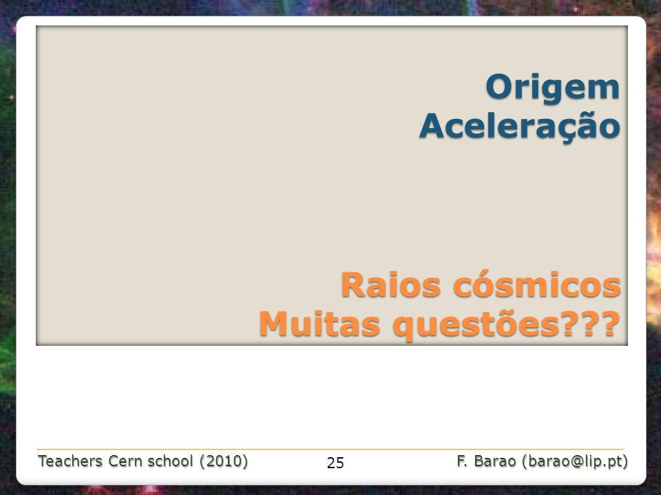 Teachers Cern school (2010) F. Barao (barao@lip.pt) Origem Aceleração Raios cósmicos Muitas questões??? Origem Aceleração Raios cósmicos Muitas questõ