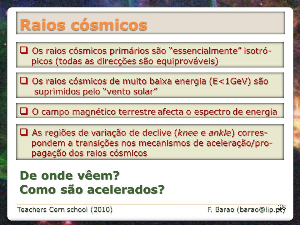 Teachers Cern school (2010) F. Barao (barao@lip.pt) Raios cósmicos 28 Os raios cósmicos primários são essencialmente isotró- Os raios cósmicos primári
