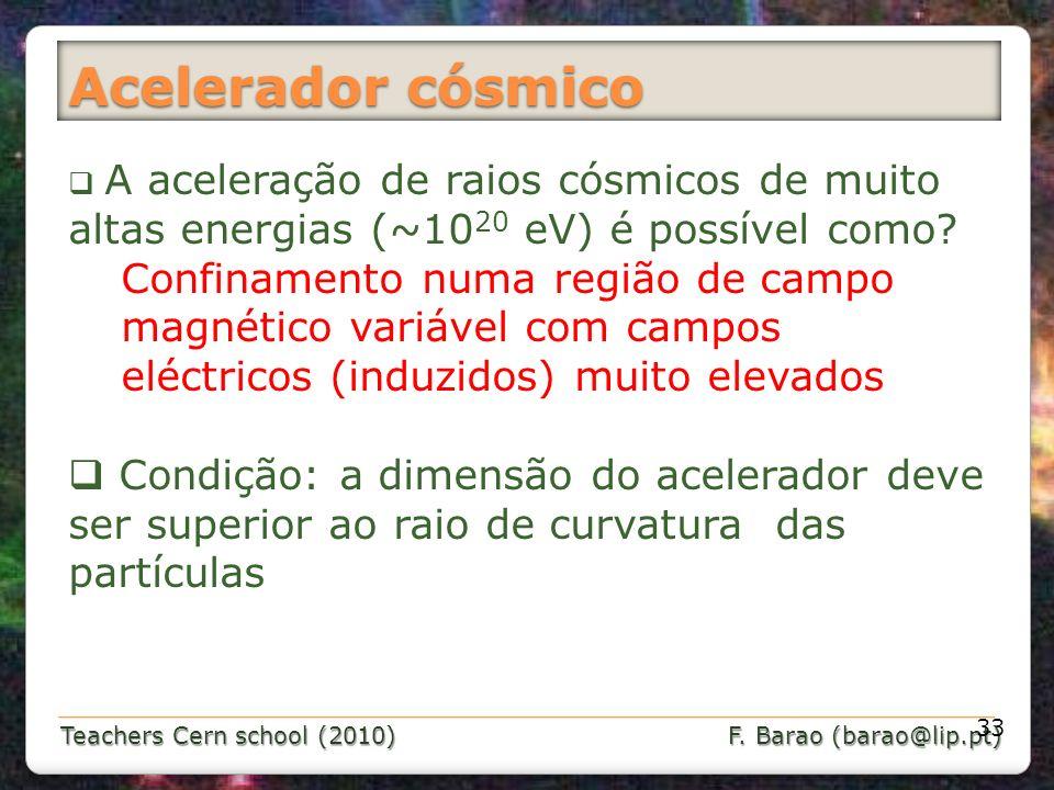 Teachers Cern school (2010) F. Barao (barao@lip.pt) Acelerador cósmico 33 A aceleração de raios cósmicos de muito altas energias (~10 20 eV) é possíve