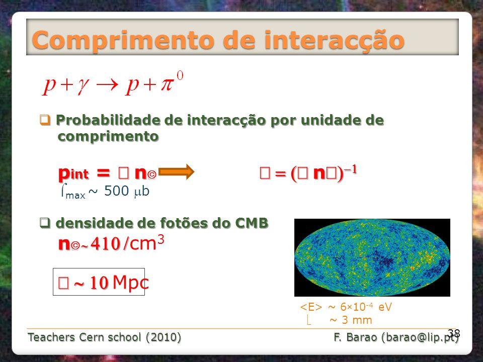 Teachers Cern school (2010) F. Barao (barao@lip.pt) Comprimento de interacção 38 Probabilidade de interacção por unidade de Probabilidade de interacçã