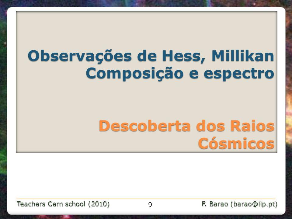 Teachers Cern school (2010) F. Barao (barao@lip.pt) Observações de Hess, Millikan Composição e espectro Descoberta dos Raios Cósmicos Observações de H