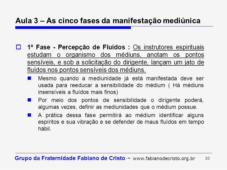 Grupo da Fraternidade Fabiano de Cristo – www.fabianodecristo.org.br 10 1ª Fase - Percepção de Fluídos : Os instrutores espirituais estudam o organism