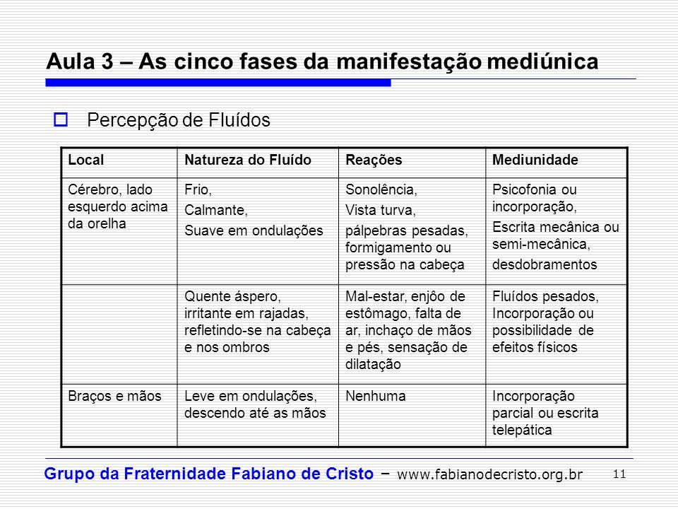 Grupo da Fraternidade Fabiano de Cristo – www.fabianodecristo.org.br 11 Aula 3 – As cinco fases da manifestação mediúnica Percepção de Fluídos LocalNa
