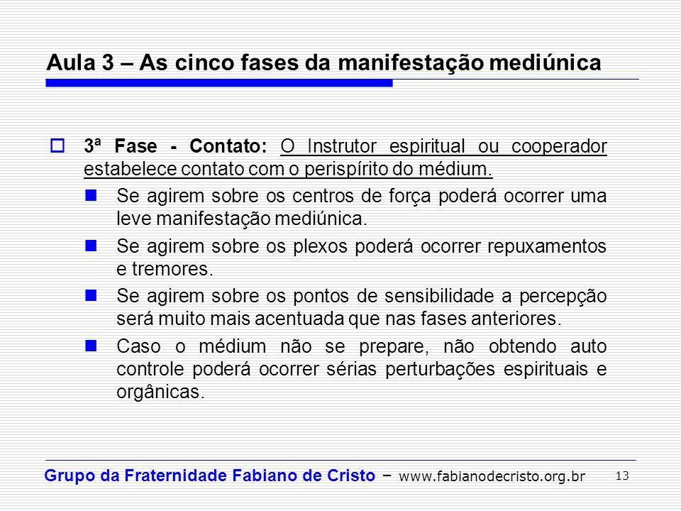 Grupo da Fraternidade Fabiano de Cristo – www.fabianodecristo.org.br 13 3ª Fase - Contato: O Instrutor espiritual ou cooperador estabelece contato com