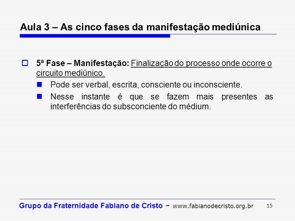 Grupo da Fraternidade Fabiano de Cristo – www.fabianodecristo.org.br 15 5ª Fase – Manifestação: Finalização do processo onde ocorre o circuito mediúni