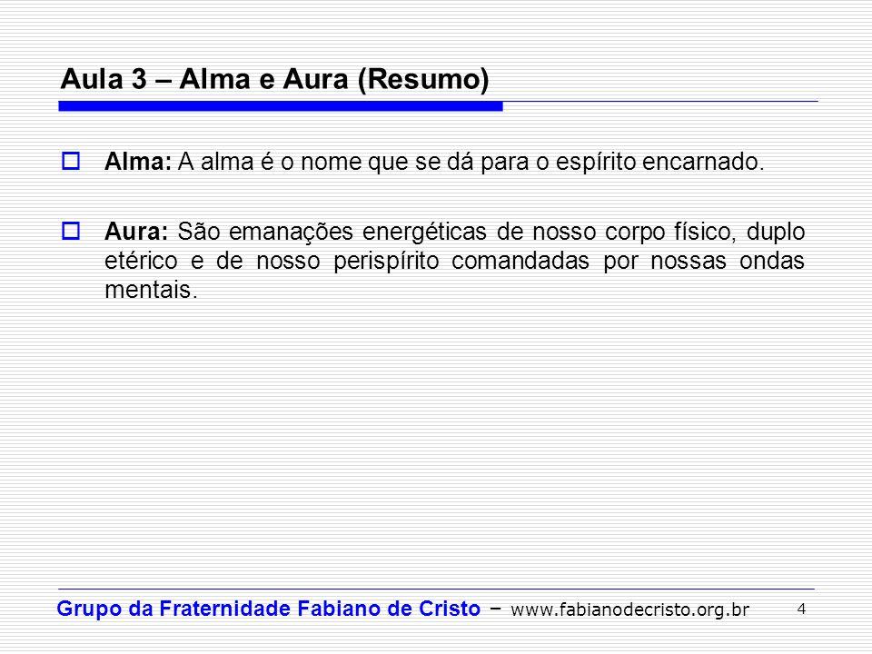 Grupo da Fraternidade Fabiano de Cristo – www.fabianodecristo.org.br 4 Aula 3 – Alma e Aura (Resumo) Alma: A alma é o nome que se dá para o espírito e