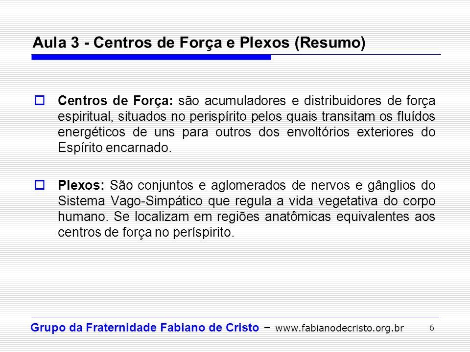 Grupo da Fraternidade Fabiano de Cristo – www.fabianodecristo.org.br 6 Aula 3 - Centros de Força e Plexos (Resumo) Centros de Força: são acumuladores
