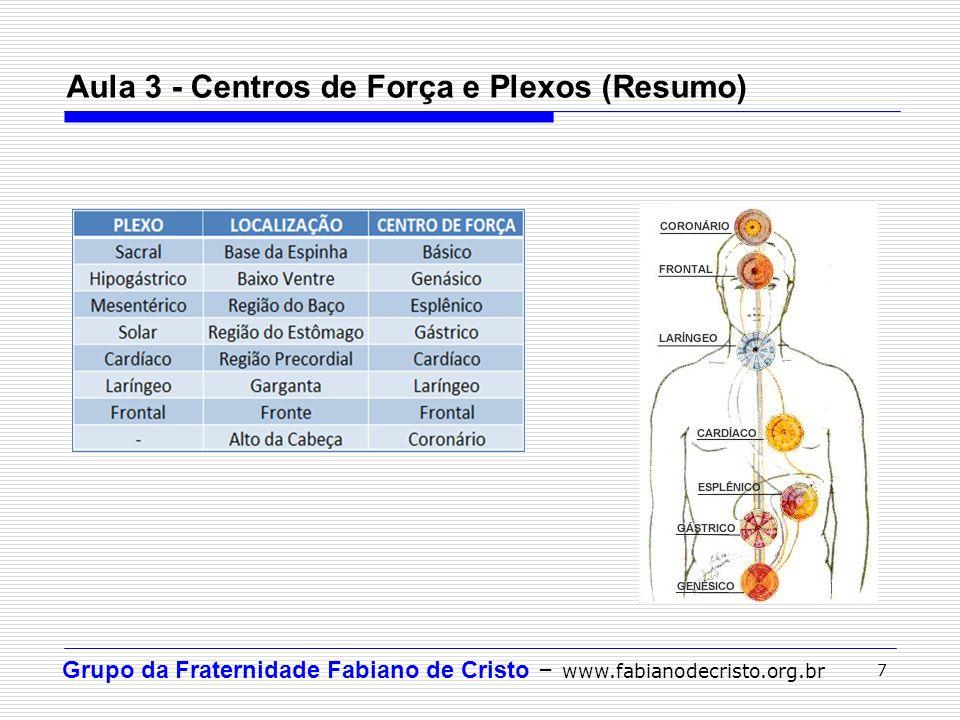 Grupo da Fraternidade Fabiano de Cristo – www.fabianodecristo.org.br 7 Aula 3 - Centros de Força e Plexos (Resumo)