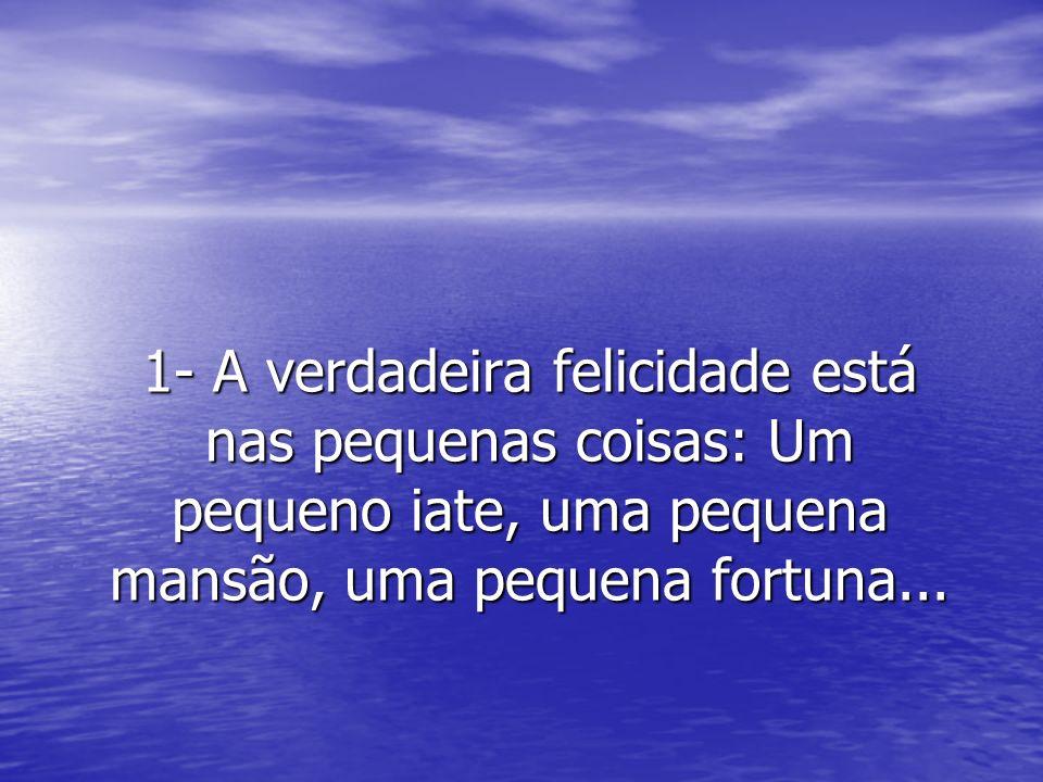 1- A verdadeira felicidade está nas pequenas coisas: Um pequeno iate, uma pequena mansão, uma pequena fortuna...