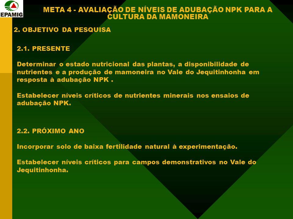 2. OBJETIVO DA PESQUISA META 4 - AVALIAÇÃO DE NÍVEIS DE ADUBAÇÃO NPK PARA A CULTURA DA MAMONEIRA 2.1. PRESENTE Determinar o estado nutricional das pla