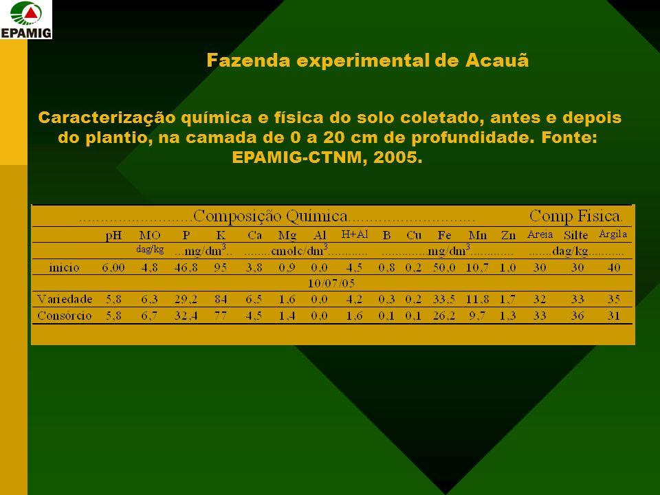 Caracterização química e física do solo coletado, antes e depois do plantio, na camada de 0 a 20 cm de profundidade. Fonte: EPAMIG-CTNM, 2005.