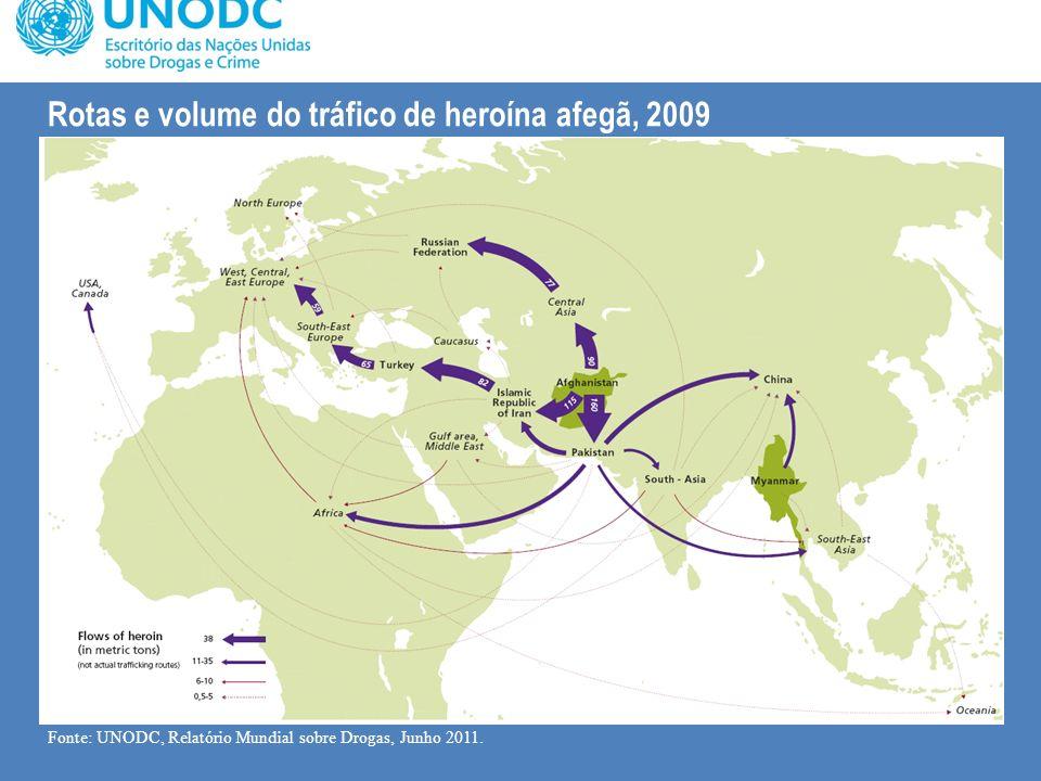 Rotas e volume do tráfico de heroína afegã, 2009 Fonte: UNODC, Relatório Mundial sobre Drogas, Junho 2011.