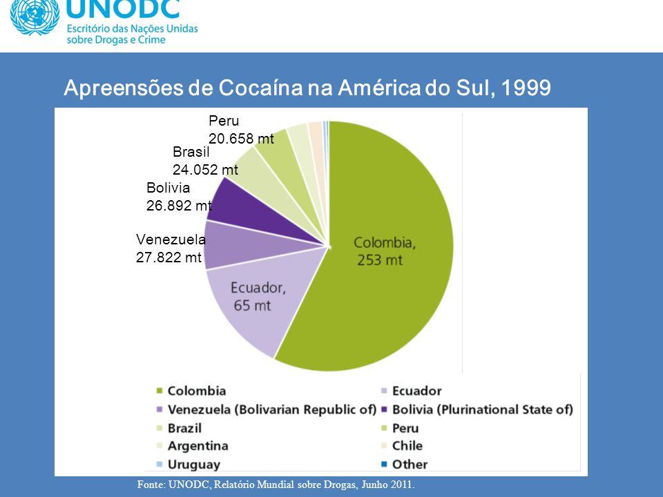 Apreensões de Cocaína na América do Sul, 1999 Fonte: UNODC, Relatório Mundial sobre Drogas, Junho 2011. Brasil 24.052 mt Venezuela 27.822 mt Bolivia 2