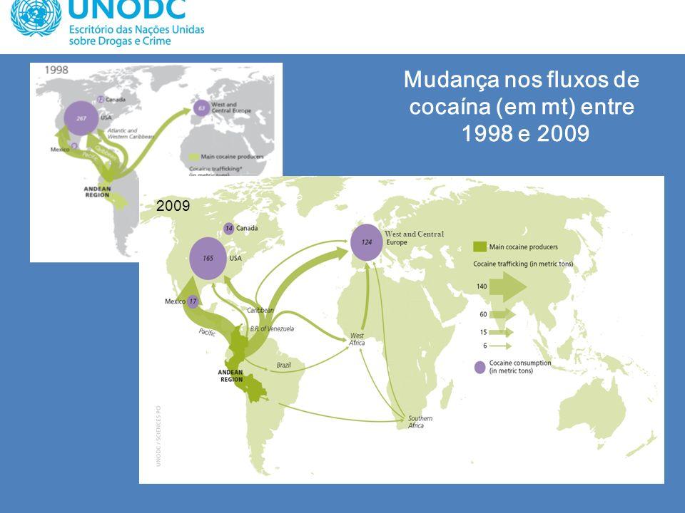 Mudança nos fluxos de cocaína (em mt) entre 1998 e 2009 West and Central 2009