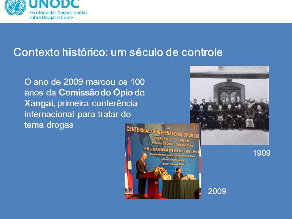 Contexto histórico: um século de controle O ano de 2009 marcou os 100 anos da Comissão do Ópio de Xangai, primeira conferência internacional para trat