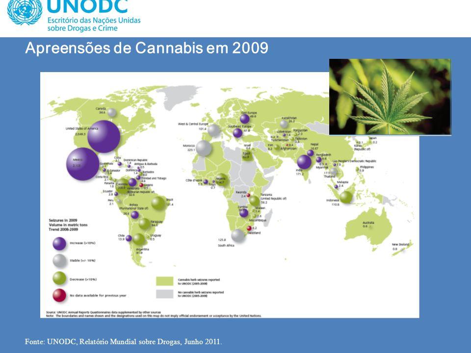 Apreensões de Cannabis em 2009 Fonte: UNODC, Relatório Mundial sobre Drogas, Junho 2011.