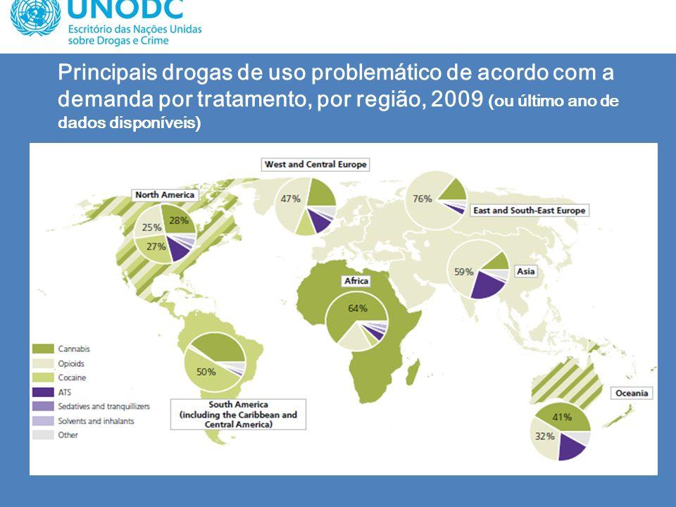 Principais drogas de uso problemático de acordo com a demanda por tratamento, por região, 2009 (ou último ano de dados disponíveis)