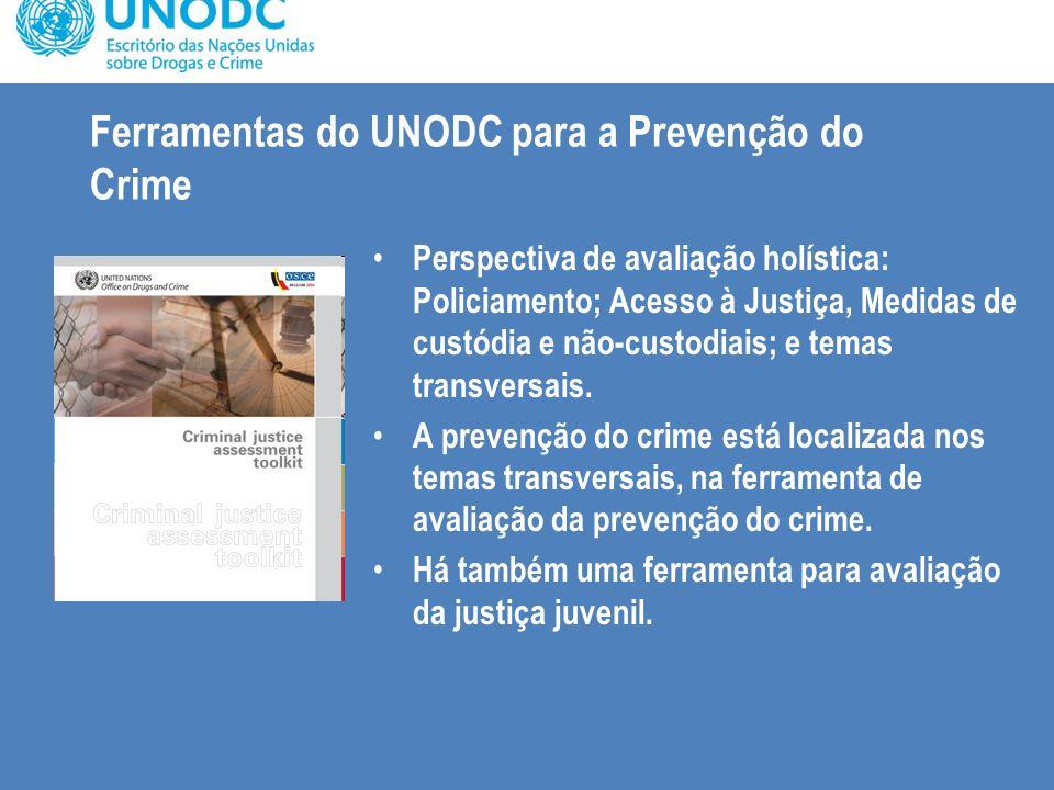 Ferramentas do UNODC para a Prevenção do Crime Perspectiva de avaliação holística: Policiamento; Acesso à Justiça, Medidas de custódia e não-custodiai