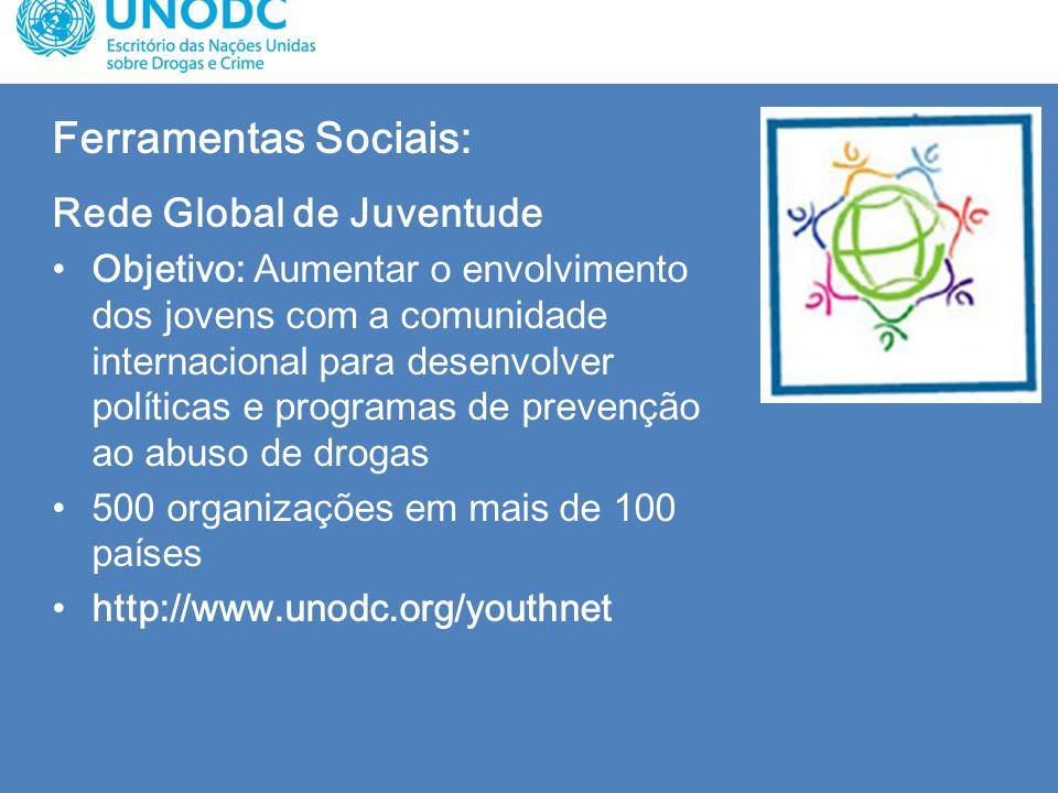 Ferramentas Sociais: Rede Global de Juventude Objetivo: Aumentar o envolvimento dos jovens com a comunidade internacional para desenvolver políticas e