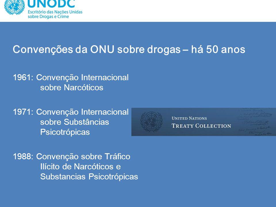 Convenções da ONU sobre drogas – há 50 anos 1961: Convenção Internacional sobre Narcóticos 1971: Convenção Internacional sobre Substâncias Psicotrópic