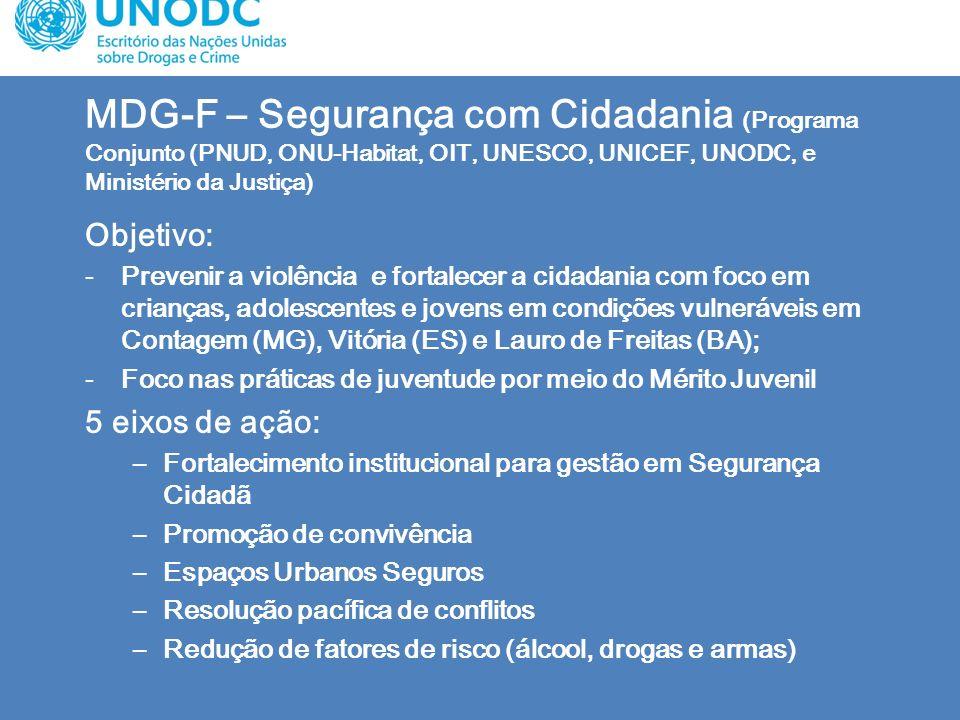 MDG-F – Segurança com Cidadania (Programa Conjunto (PNUD, ONU-Habitat, OIT, UNESCO, UNICEF, UNODC, e Ministério da Justiça) Objetivo: -Prevenir a viol